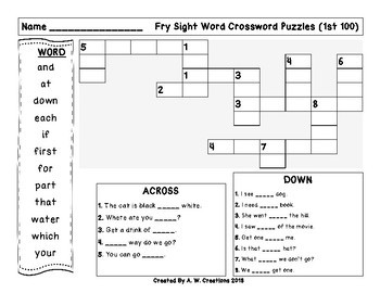 Fry Sight Word Crossword Puzzles 1st 100 to 10th 100 **BUNDLE**