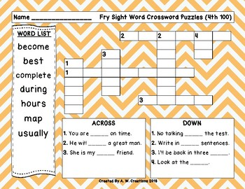 Fry Sight Word Crossword Puzzles 4th 100