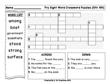 Fry Sight Word Crossword Puzzles 5th 100