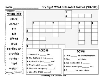 Fry Sight Word Crossword Puzzles 9th 100