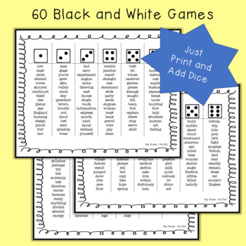 Fry Sight Word Dice Games - Words 501-1000