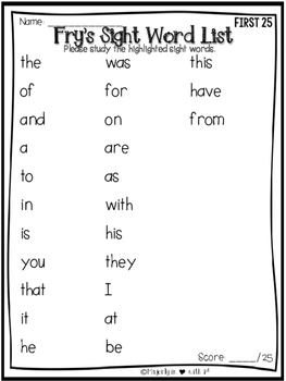 Fry Sight Word First 100-Assessment Printables