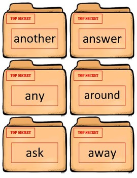 Fry Sight Word Flash Cards~ 1st/2nd grade Case Files