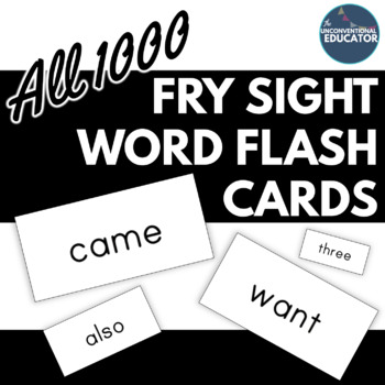 """Fry Sight Word Flash Cards: All 1000- Printable on Avery Labels! (#8163- 2""""x4"""")"""