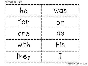 Fry Sight Word Flash Cards Freebie 1-100 by Classroom Confetti | TpT