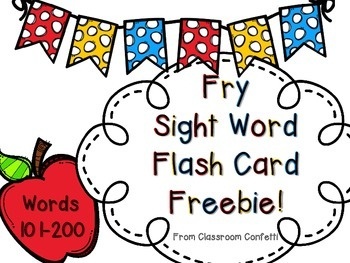 Fry Sight Word Flash Cards Freebie 101-200