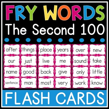 Fry Sight Word Flash Cards - The Second 100 - High Frequency Words Flashcards