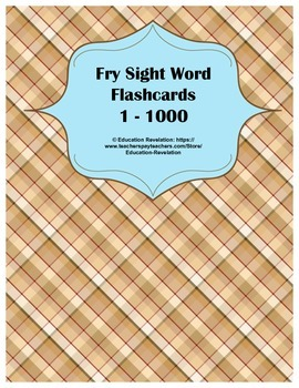 Fry Sight Word Flashcards 1 - 1000