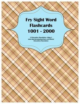 Fry Sight Word Flashcards 1001 - 2000