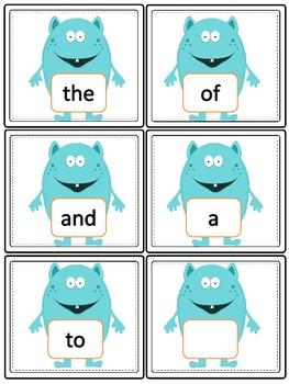 Sight Word Flashcards: Kindergarten (Monsters)
