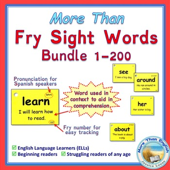 More Than SIGHT WORDS for Fluency AND Comprehension 1-200 Bundle