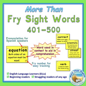 More Than SIGHT WORDS for Fluency AND Comprehension 401-500