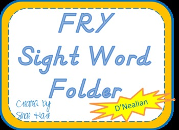 Fry Sight Word Folder - 1st 300 words - D'Nealian Font