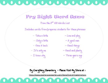 Fry Sight Word Game