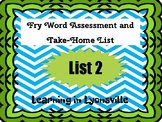 Fry Sight Word List 2 Assessment and Take-Home Activity