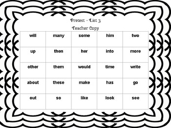 Fry Sight Word List 3 Assessment and Take-Home Activity