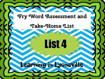 Fry Sight Word List 4 Assessment and Take-Home Activity