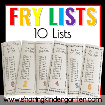 Fry Sight Word Lists