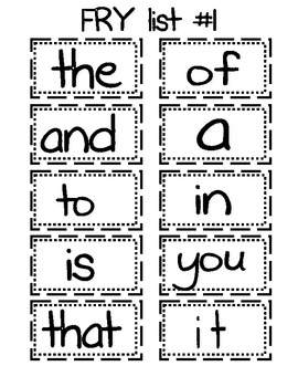 Fry Sight Word Lists (Words 1-60)