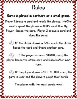 Fluency with Fry Sight Word Phrase Baseball- List 4