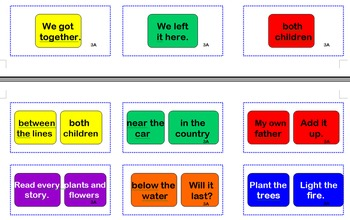 Fry Phrases Sight Word Cards for Candyland Set 3A