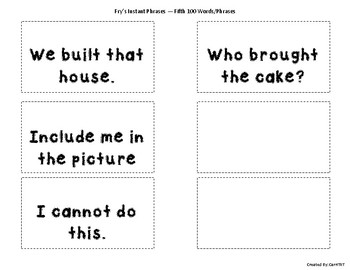 Fry Sight Word Phrases Flashcards (Fifth 100 Words)