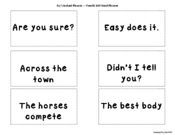 Fry Sight Word Phrases Flashcards (Fourth 100 Words)
