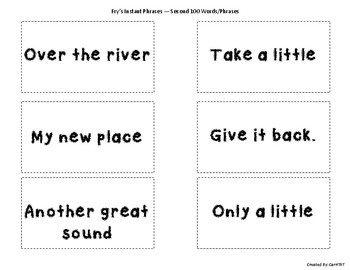Fry Sight Word Phrases Flashcards (Second 100 Words)