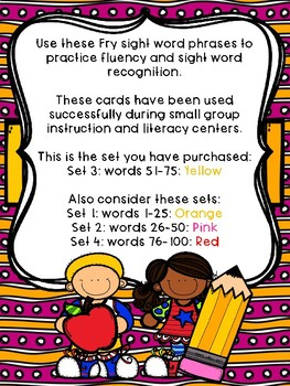Fry Sight Word Phrases - The First 100 Set 3: Words 51-75