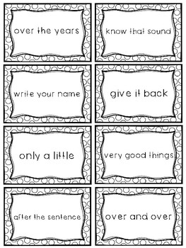 Fry Sight Word Phrases - The Second 100 Set 1: Words 1-25