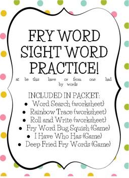 Fry Sight Word Practice (list 3)