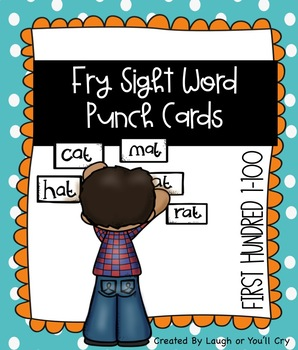 Fry Sight Word Practice Punch Cards First Hundred (1-100)