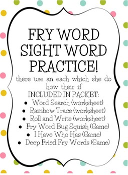 Fry Sight Word Practice (list 5)
