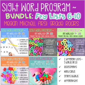 Fry Sight Word Program 6th-10th Words BUNDLE Lists Assessments and Word Cards