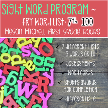 Fry Sight Word Program 7th 100  Lists Assessments and Word Cards