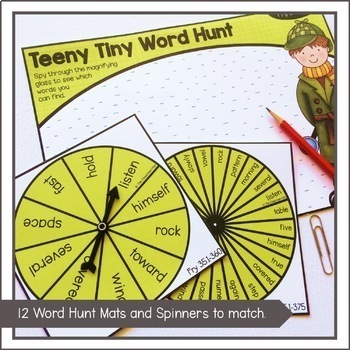 Fry Sight Word Search Hunt Activity and Spinners BUNDLE