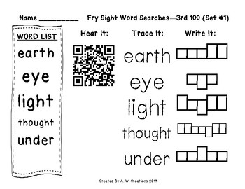 Fry Sight Word Searches QR Codes 3rd 100 Sets 1 to 10