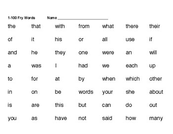 Fry Sight Word Sheets - 1st 100