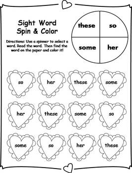 Fry Sight Word Spin and Color Activities- Valentine's Day