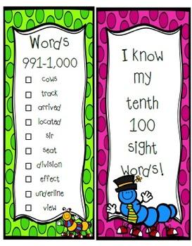 Fry Sight Word Sticker Book Bundle (1-1,000)