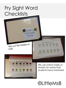 Fry Sight Word Sticker or Check-off Sheet #1-300 for K, 1st, 2nd and more!