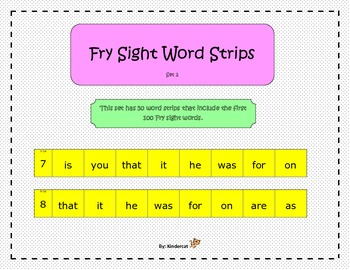 Fry Sight Word Strips