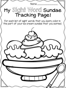 Fry Sight Word Sundae Tracking Kit EDITABLE