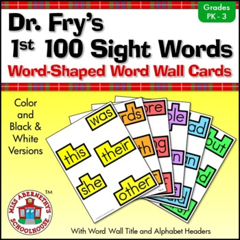 Fry Sight Word Cards and Word Wall Headings: Dr. Fry's 1st 100 Sight Words