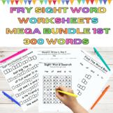 Sight Word Worksheets Practice Mega  Bundle Fry 1st 300 Wo