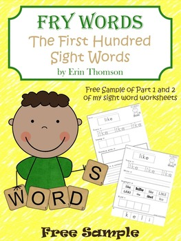 Fry Sight Word Worksheets ~ The First Hundred FREE SAMPLE