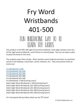 Fry Sight Word Wristbands 401-500