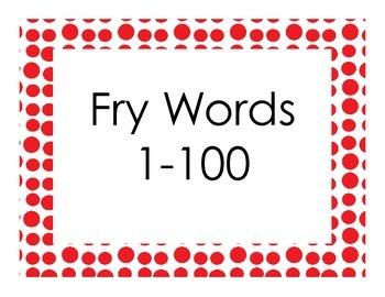 Fry Sight Words 1-100