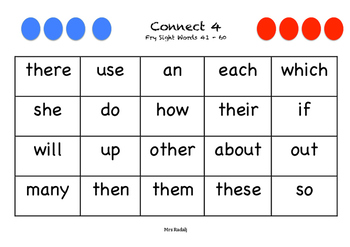 Fry Sight Words 1-1000 Conenct 4