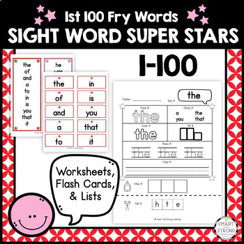 Super Star Fry Sight Words 1-100: Worksheets, Flash Cards, 10-Word Lists